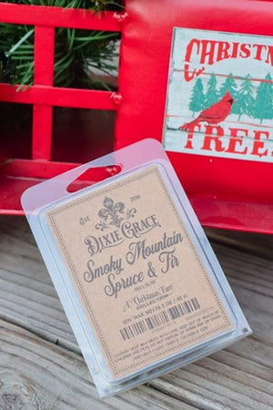 smoky mountain spruce & fir wax melt dixie grace