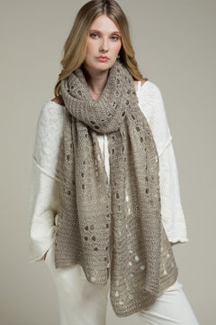 Taupe Open Knit Eyelet Scarf