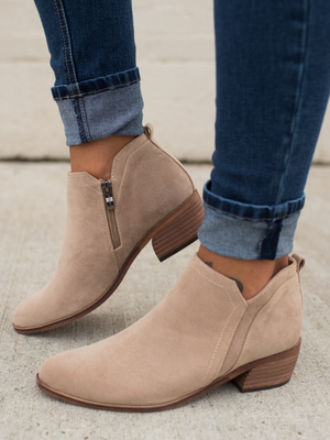 Light Taupe Carrier Ankle Booties