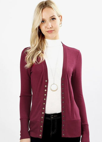 Berry Wine Snap Front Cardigan