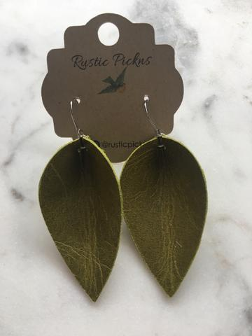Worn Olive Leather Petal Earrings