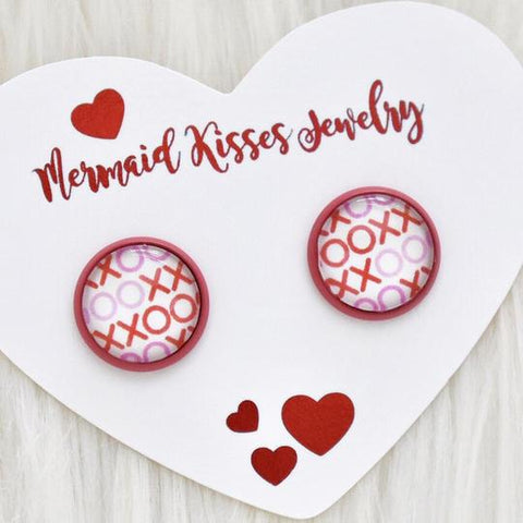 XOXO Red Pink Stud Earrings