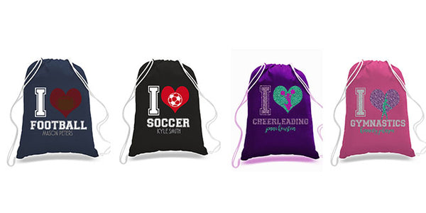 Personalized Sports Cinch Bags | 16 Colors