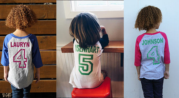 Personalized Age Raglans | Toddler and Youth