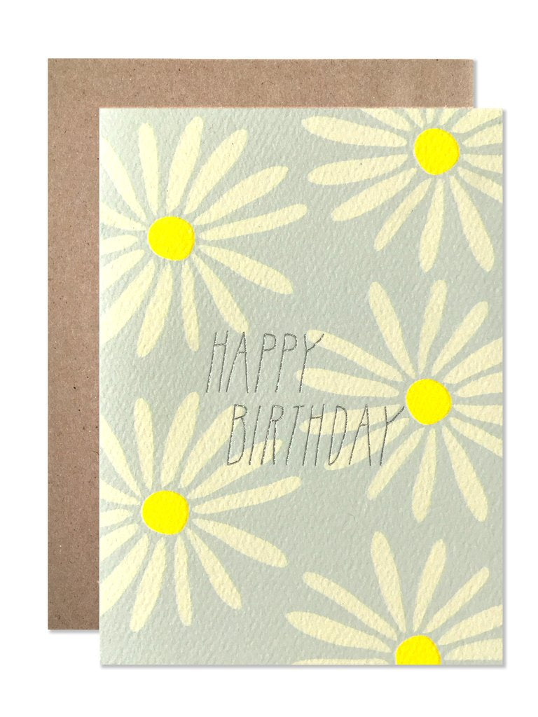 BLANK GREETING CARD - HAPPY BIRTHDAY DAISIES WITH SILVER FOIL-children-todler-kids-baby-clothing-shopboygirl