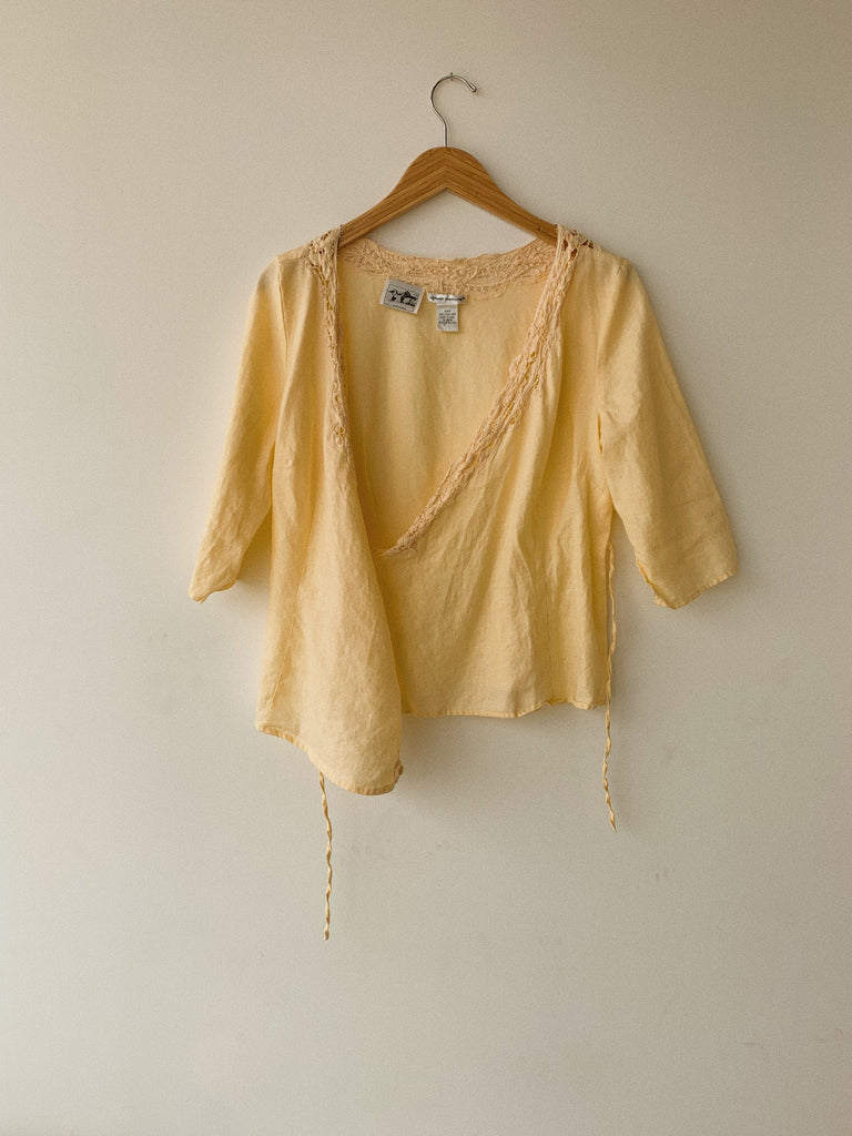 VINTAGE LINEN CROSSOVER TOP - PEACH
