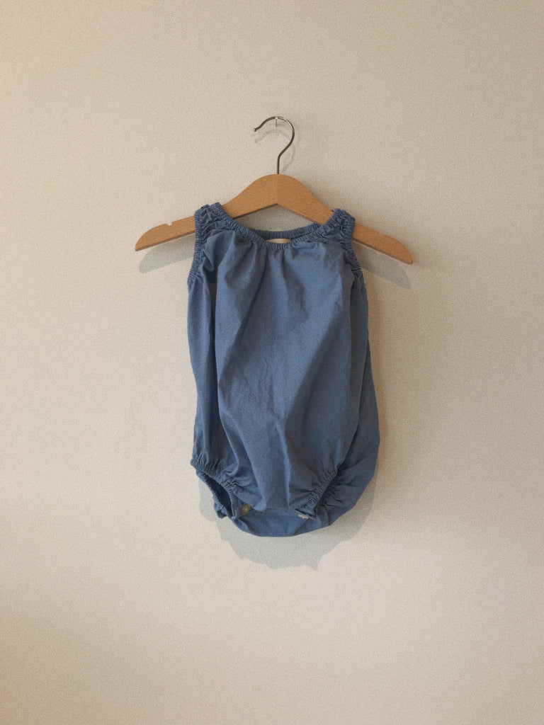 baby bubble in cornflower organic poplin cotton