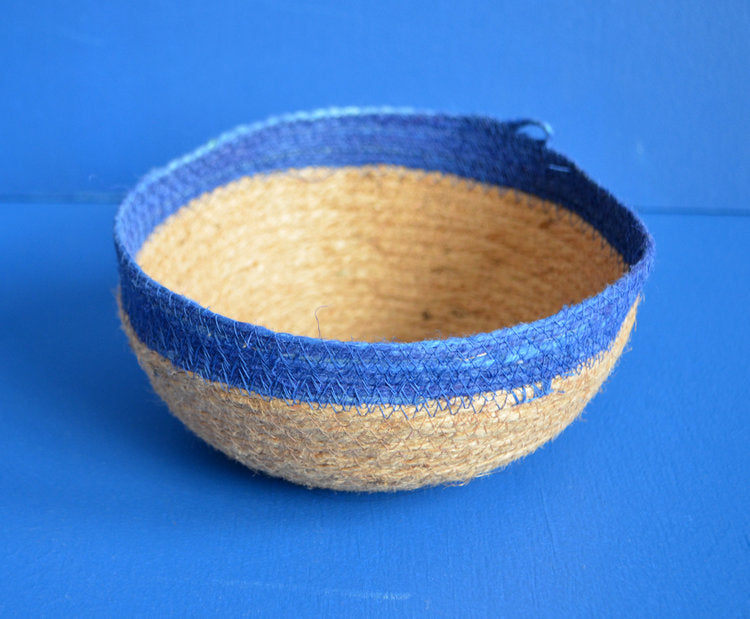 MEDIUM BOWL - JUTE AND BLUE