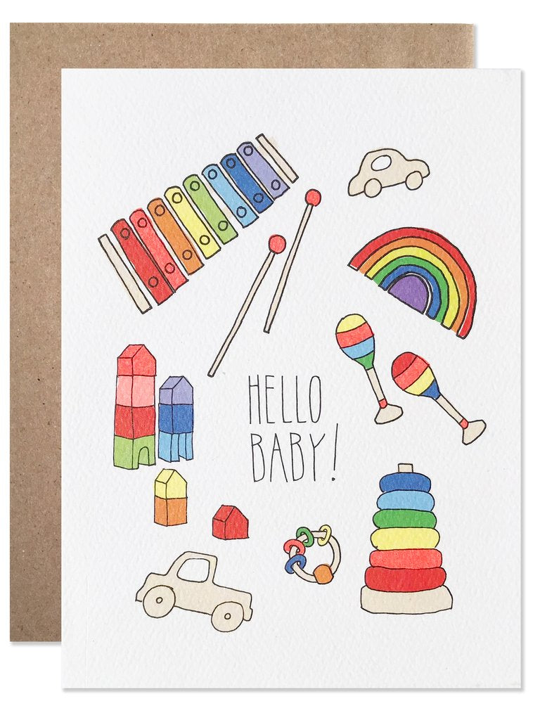 BLANK GREETING CARD - HELLO BABY!-children-todler-kids-baby-clothing-shopboygirl
