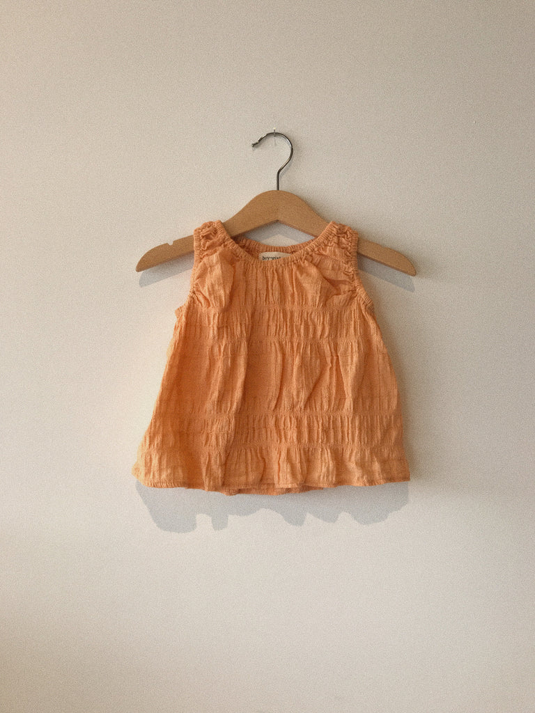 baby poppy top in cantaloupe rouched cotton