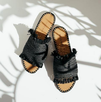 BLACK SANDAL - RAFFIA SLIDE-children-todler-kids-baby-clothing-shopboygirl