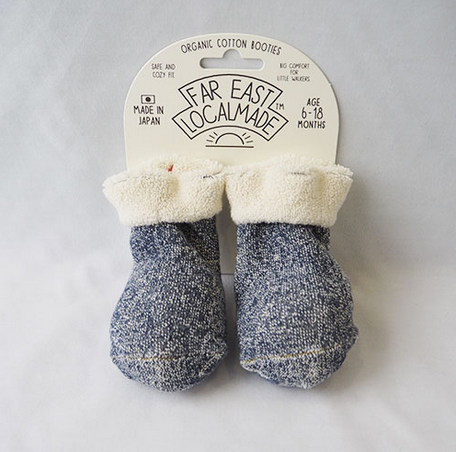 NAVY ORGANIC COTTON BOOTIES - JAPAN-children-todler-kids-baby-clothing-shopboygirl