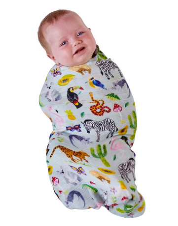 BAMBOO BABY SWADDLE - IN THE JUNGLE-children-todler-kids-baby-clothing-shopboygirl