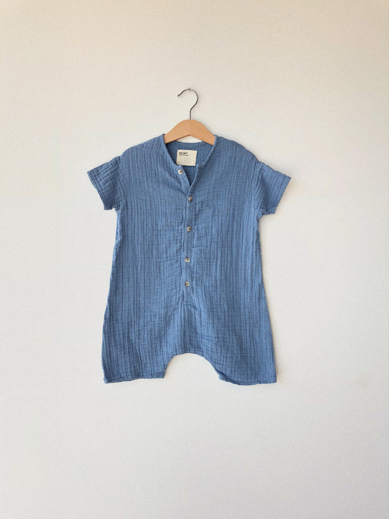 baby wills jumper in cornflower cotton gauze