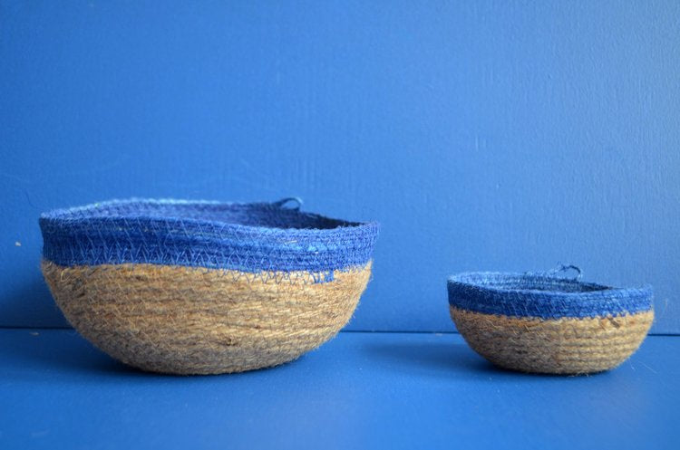SMALL BOWL - JUTE AND BLUE