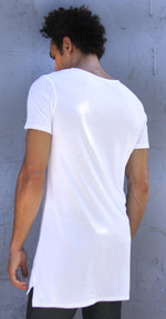 SCOOP NECK LONG TEE - WHITE - Kali4Kouture