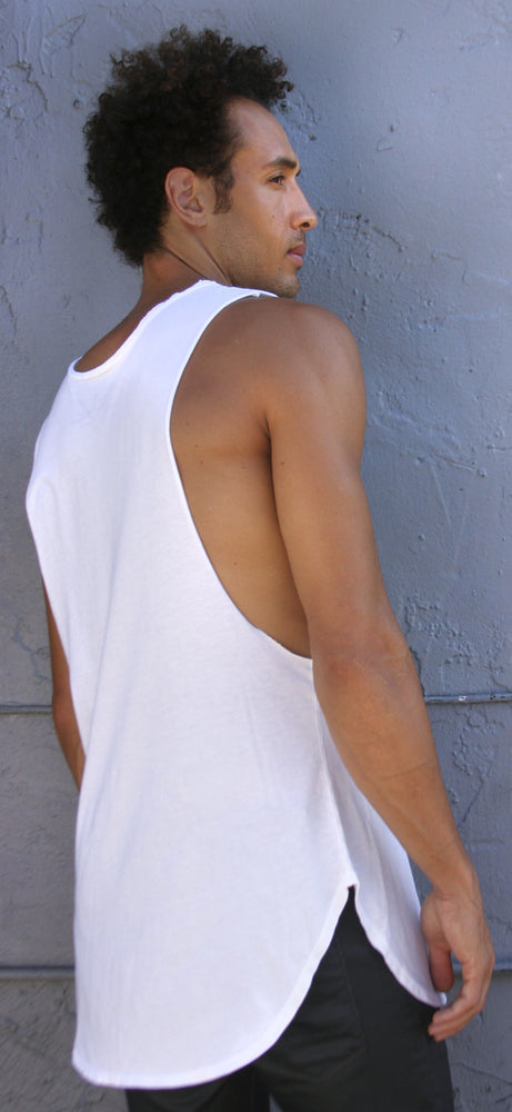 RAW EDGE LONG MUSCLE TANK - WHITE - Kali4Kouture