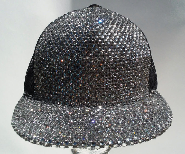 K4K COUTURE MESH SNAPBACK BLACK - SILVER CRYSTALS