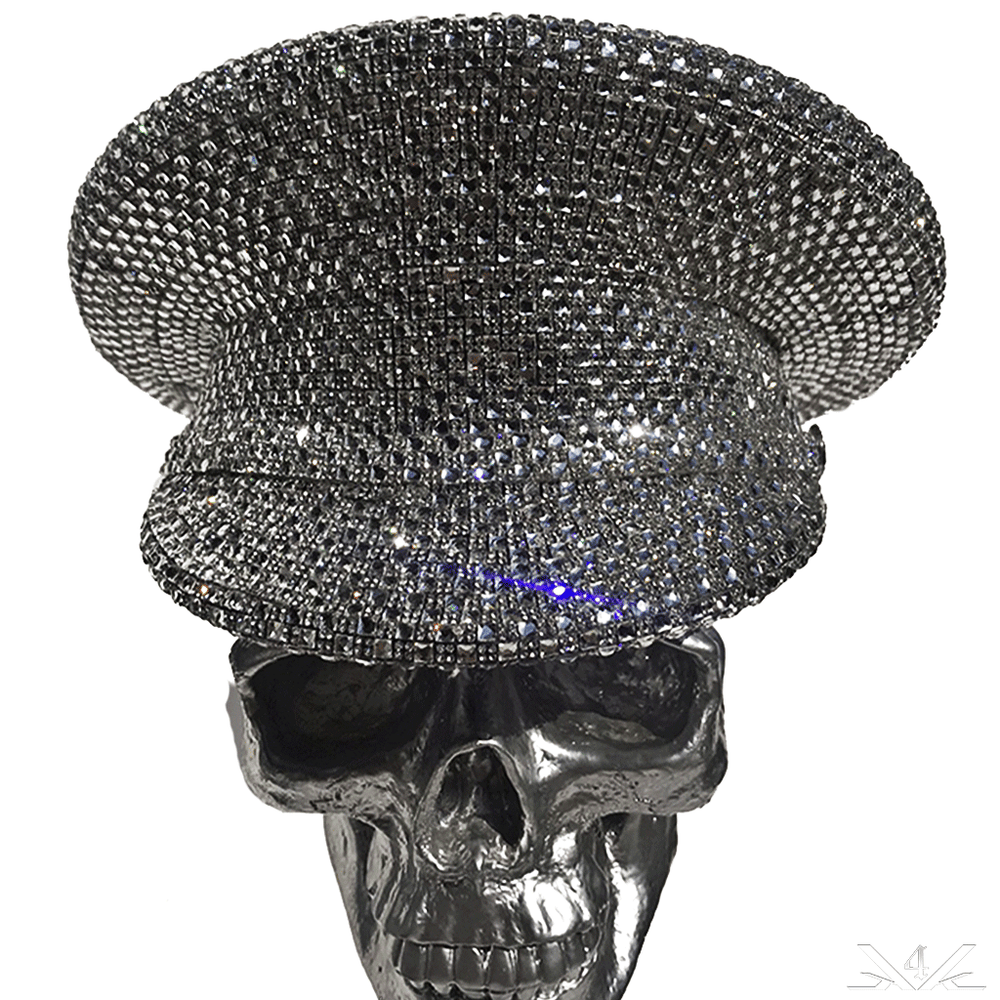 K4K COUTURE COMMANDER CAP - SILVER 1:4 CRYSTALS