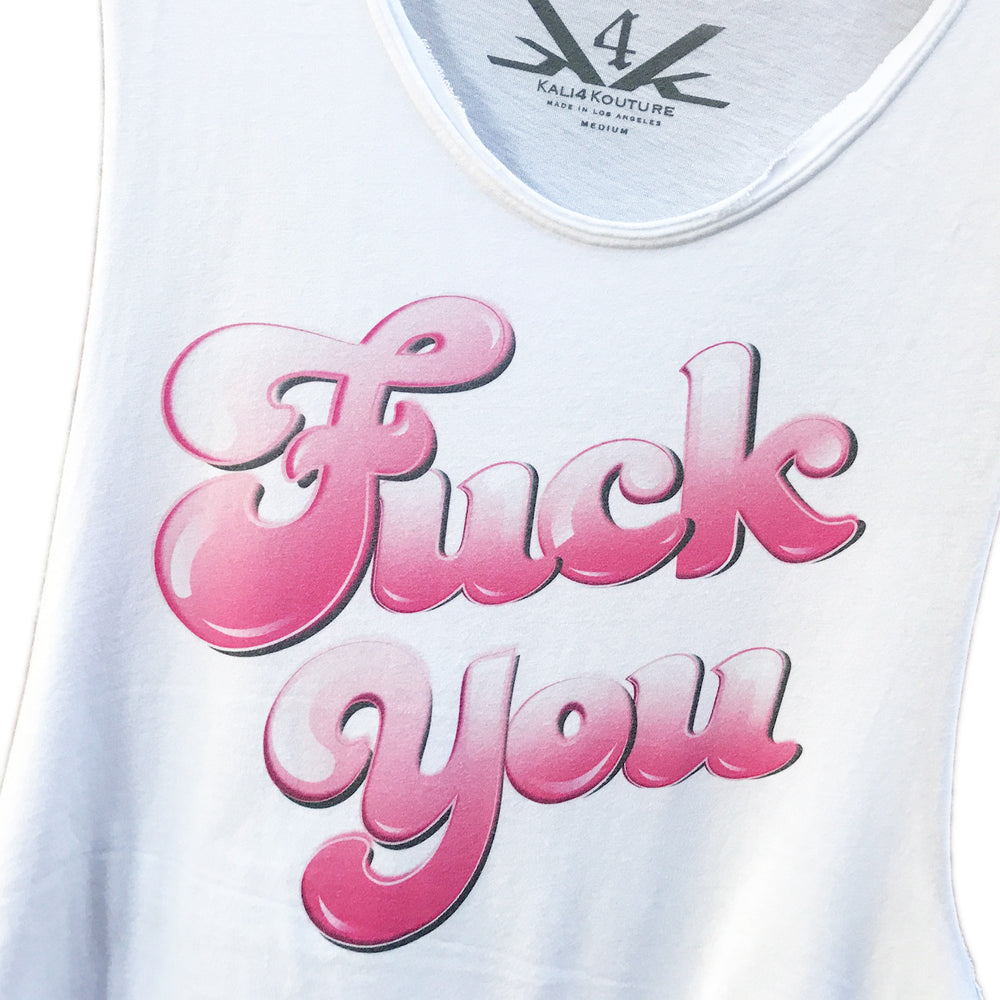 """FVCK YOU"" RAW EDGE LONG TANK UNISEX - Kali4Kouture"