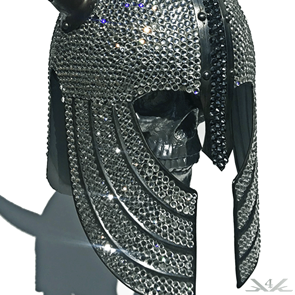 K4K COUTURE SWAROVSKI VIKING HELMET WITH HORNS - Kali4Kouture