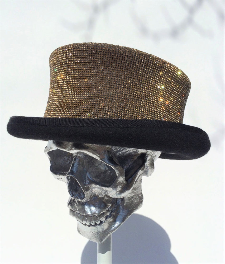 K4K COUTURE RIDING TOPHAT - CRYSTAL TRANSFER DARK GOLD - Kali4Kouture