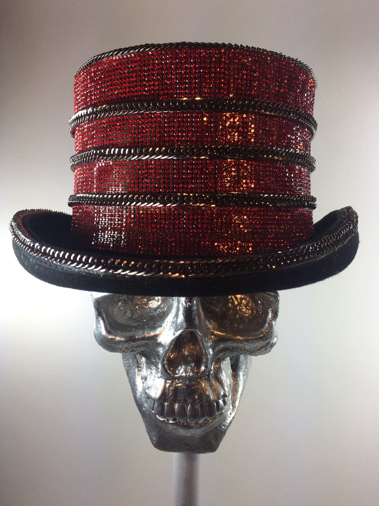 K4K COUTURE COACHMAN TOPHAT - CRIMSON CRYSTAL STACKS