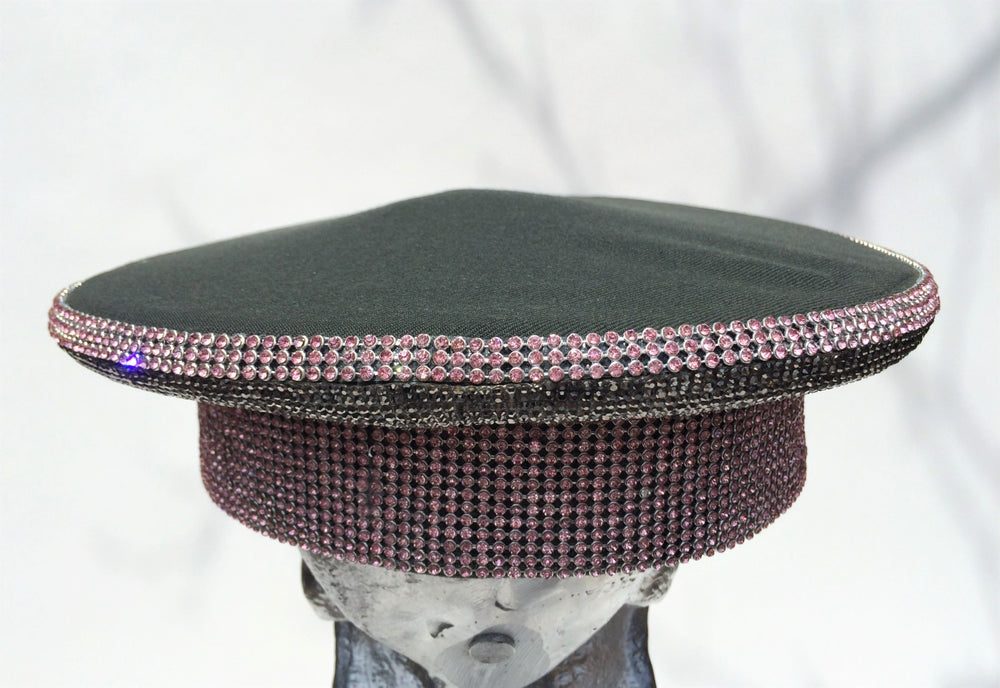 K4K COUTURE COMMANDER CAP - ROSE PINK - SILVER CRYSTALS - Kali4Kouture