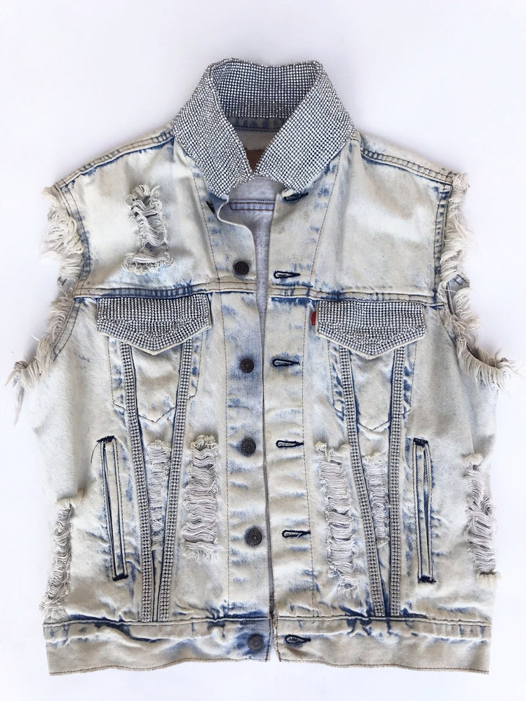 K4K COUTURE DESTROYED DENIM SLEEVELESS JACKET
