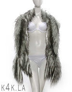 White and Black Ostrich Feather Stole - Kali4Kouture