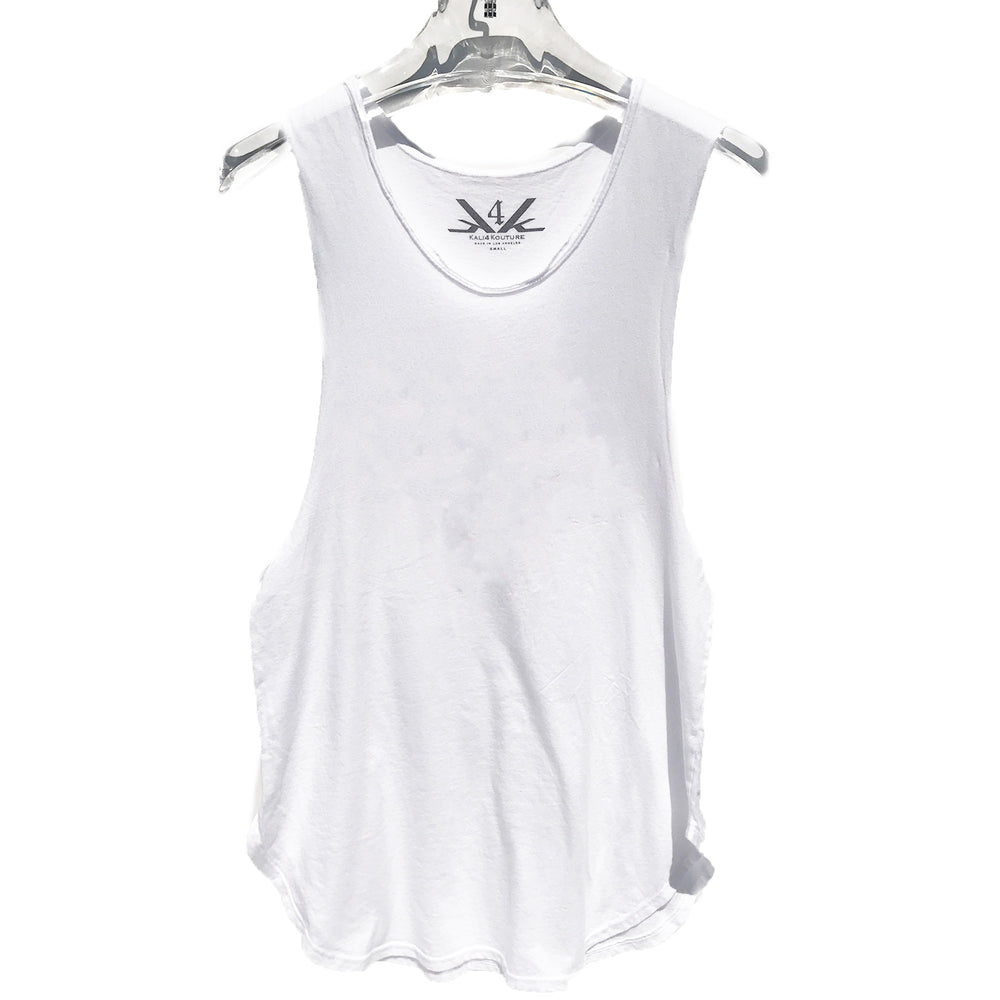 RAW EDGE LONG MUSCLE TANK - WHITE