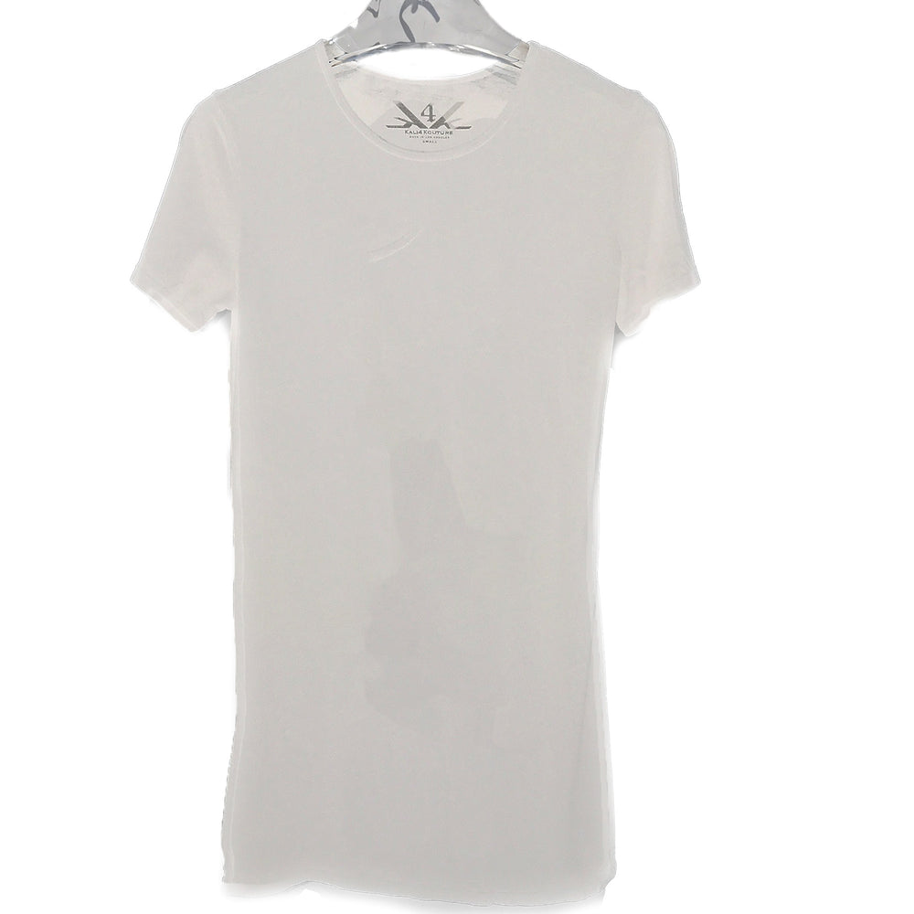 SCOOP NECK LONG TEE - WHITE