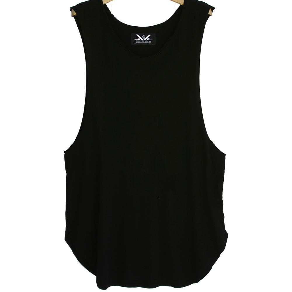 RAW EDGE LONG MUSCLE TANK - BLACK - Kali4Kouture