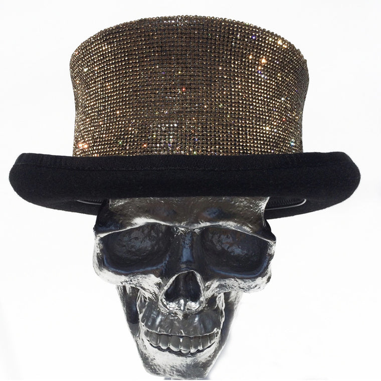 K4K COUTURE RIDING TOPHAT - CRYSTAL TRANSFER DARK GOLD