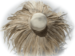 K4K COUTURE FLOPPY STRAW HAT - COQUE FEATHERS NATURAL
