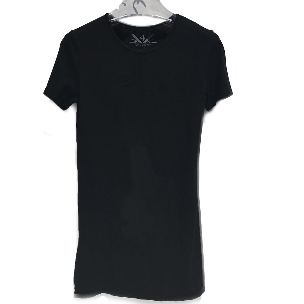 SCOOP NECK LONG TEE - BLACK