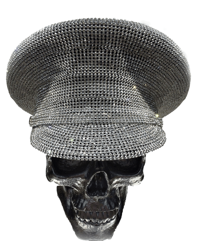 K4K COUTURE COMMANDER CAP - SILVER ALL-OVER CRYSTALS - Kali4Kouture