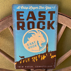 Custom Embossed Aluminum Tacker Signs for East Rock Brewing Co