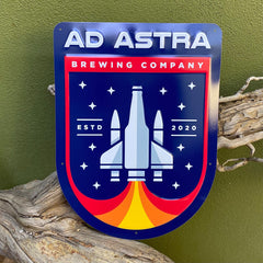 Custom embossed aluminum tacker for Ad Astra Brewing Co