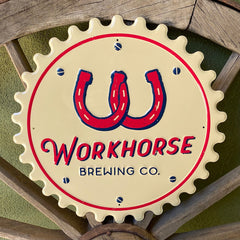 Custom embossed aluminum tacker for Workhorse Brewing Co