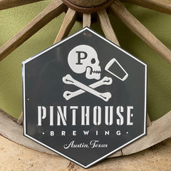 Custom embossed aluminum hexagon tacker for Pinthouse Brewing Co