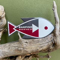 Custom aluminum embossed tacker sign for Bakfish Brewing Co