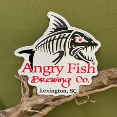 Custom embossed aluminum tacker for Angry Fish Brewing Co