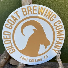 Custom embossed aluminum tackers for Gilded Goat Brewing Co