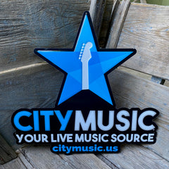 Custom Embossed aluminum Tackers for City Music Your Live Music Source