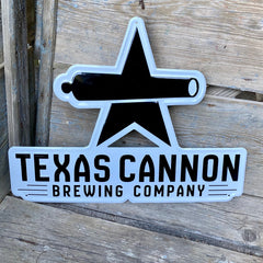Custom embossed aluminum tackers for Texas Cannon Brewing Co
