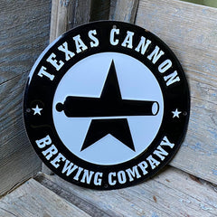 """Custom embossed aluminum """"mini tackers"""" for Texas Cannon Brewing Co"""