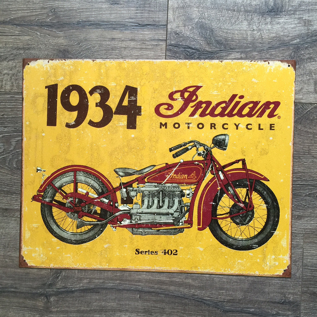 Vintage Look 1934 Indian Motorcycle Metal Sign Tin Tacker