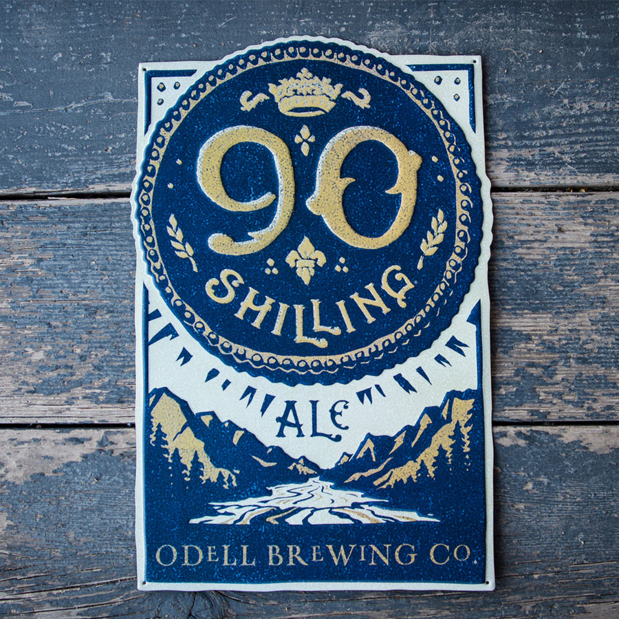 Odell Brewing Co 90 Shilling Ale Tin Tacker Metal Beer Sign