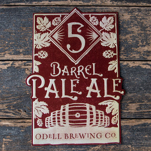 Odell Brewng Co 5 Barrel Pale Ale Tin Tacker Metal Beer Sign